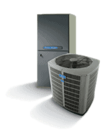 Product shot of central air unit and furnace